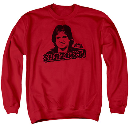 Mork &Amp; Mindy Shazbot Red Crew Neck Sweatshirt
