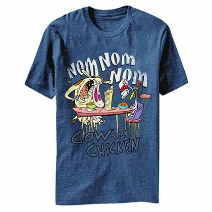 Cow and Chicken Nom Nom Blue T-Shirt