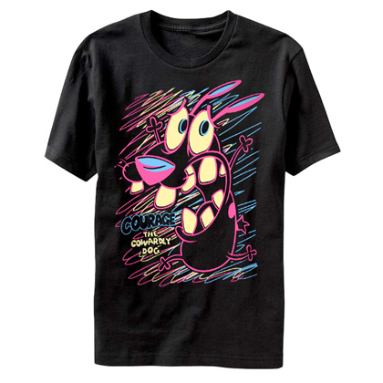 Cartoon Network Courage The Cowardly Dog Neon Drawing Tshirt