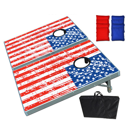 Cornhole Game American Flag Aluminum 3x2' Tailgate Bean Bag Toss
