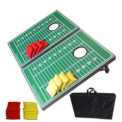 Cornhole Game Football Design Aluminum 3x2' Tailgate Bean Bag Toss