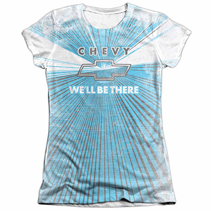 Chevy We'll Be There White Juniors Sublimation T-Shirt