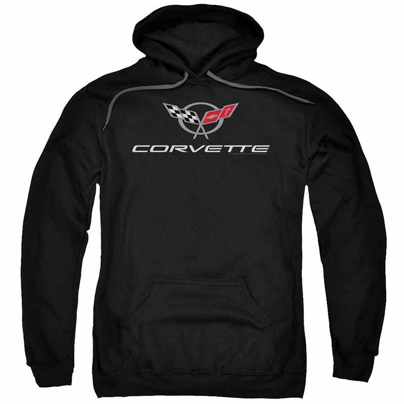 Chevy Corvette Modern Emblem Black Pullover Hoodie