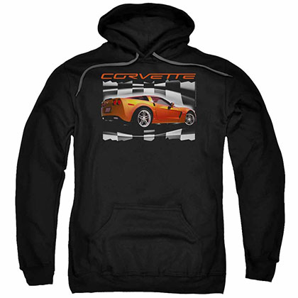 Chevy Orange Z06 Vette Black Pullover Hoodie