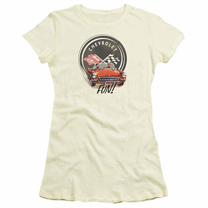 Chevy Vette Fun Beige Juniors T-Shirt