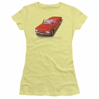 Chevy 62 Corvair Convertible Yellow Juniors T-Shirt