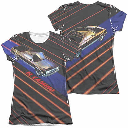 Chevy Laser Camino White 2-Sided Juniors Sublimation T-Shirt