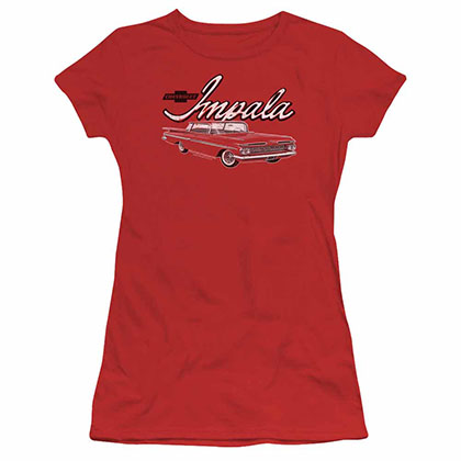 Chevy Classic Impala Red Juniors T-Shirt