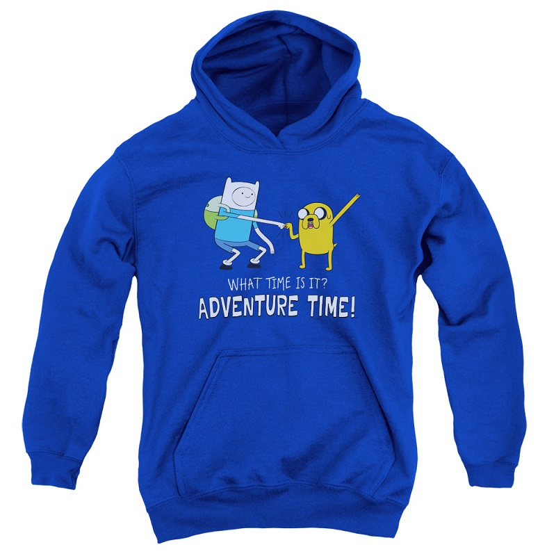 Adventure Time What Time Is It Blue Youth Hoodie