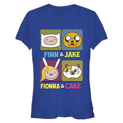 Adventure Time Finn Fionna Cake Jake Blue Juniors T-Shirt