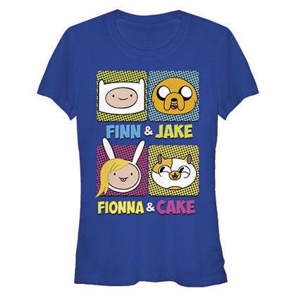 Adventure Time Juniors Blue Finn Fionna Cake Jake T-Shirt