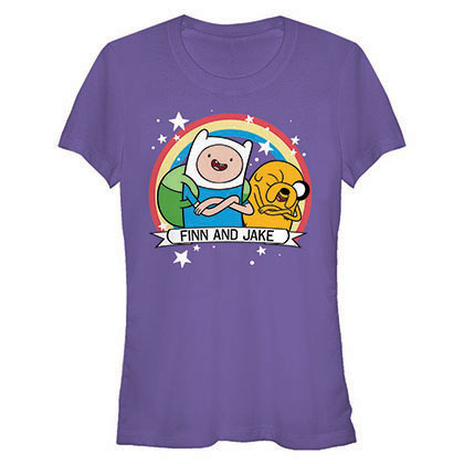 Adventure Time Jake Finn Forev Purple Juniors T-Shirt