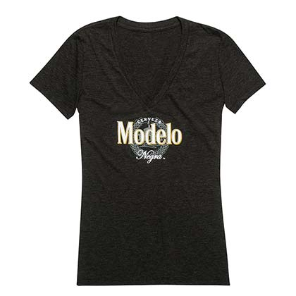 Modelo Negra Women's Black V-Neck T-Shirt