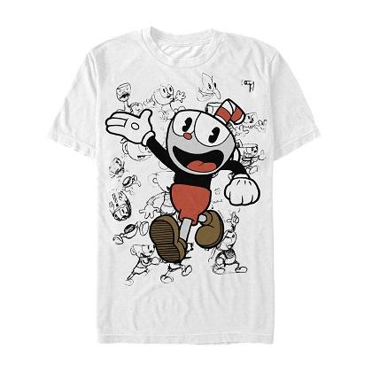 Cuphead Sketched White Tshirt