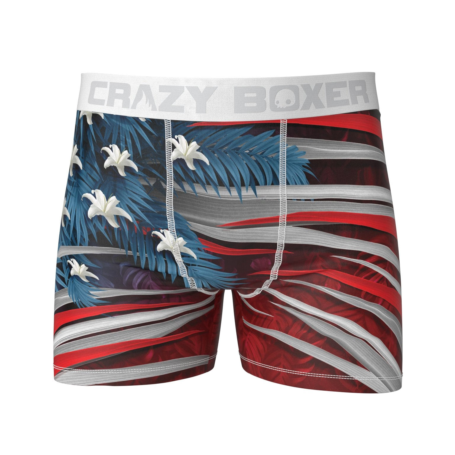 American Flag Red White and Blue Jungle Print Boxer Briefs