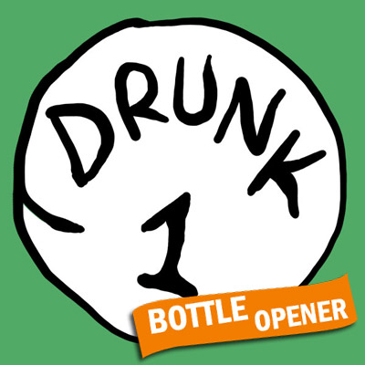 Drunk 1 Bottle Opener Green Graphic T Shirt
