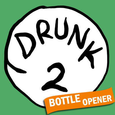 Drunk 2 Bottle Opener Green Graphic Tee Shirt
