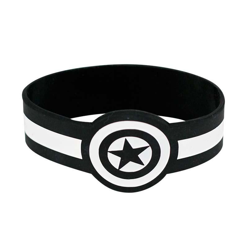 Captain America White And Black Rubber Bracelet