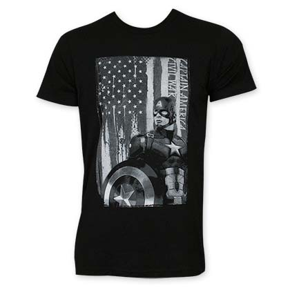 Captain America Men's Black & White Patriot Tee Shirt