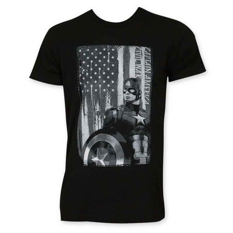 Captain America Men's Black & White Patriot Tee Shirt