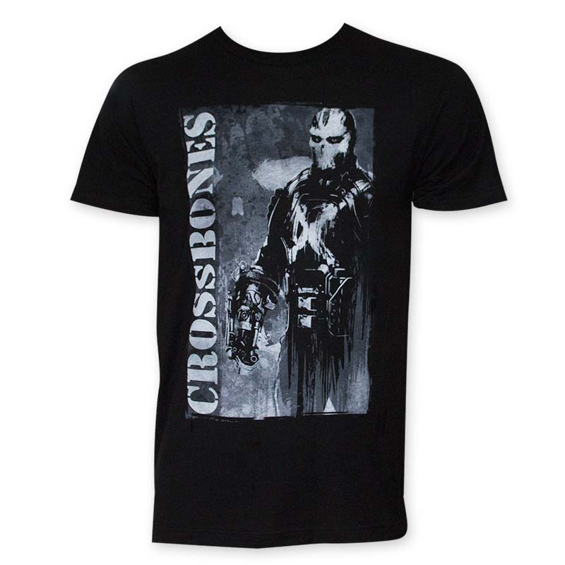 Captain America Men's Black Crossbones Tee Shirt