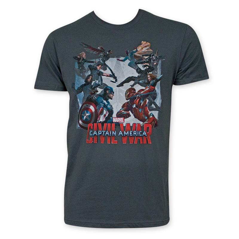 Captain America Men's Gray Civil War Tee Shirt
