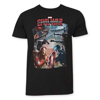 Captain America Men's Black Civil War Tee Shirt