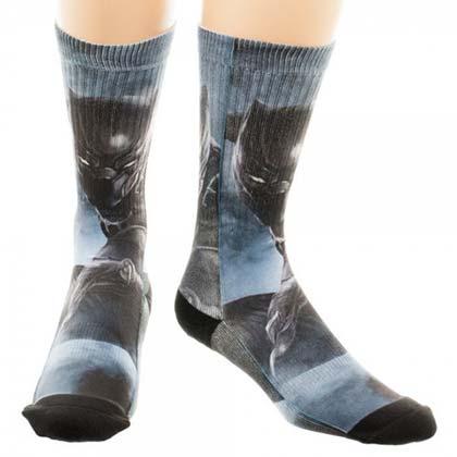 Men's Captain America Civil War Black Panther Cotton Crew Socks