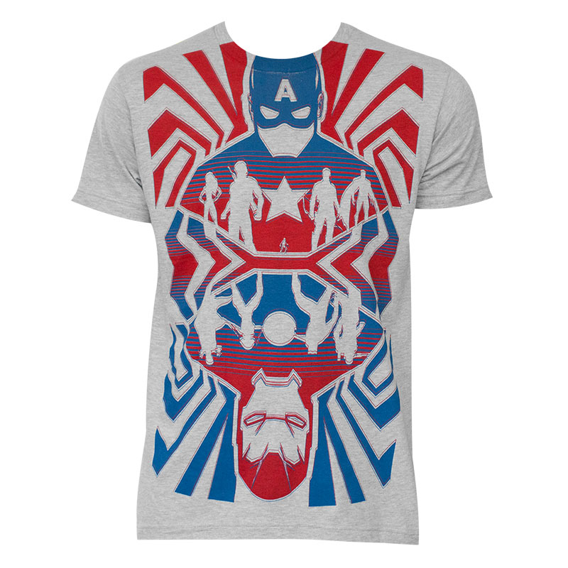 Men's Captain America Opposing Forces Cotton Blend Grey Tee Shirt