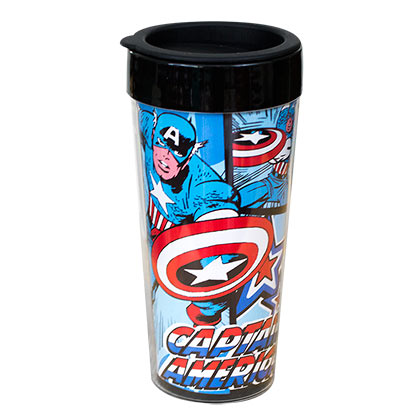 Captain America Plastic Comic Travel Mug