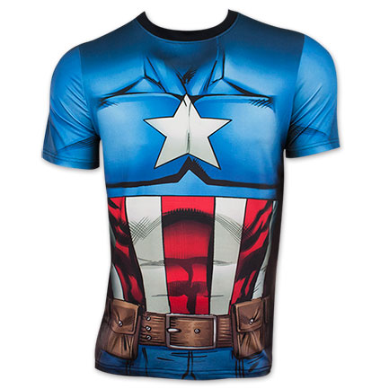 Captain America Sublimated Blue And Red Costume T-Shirt