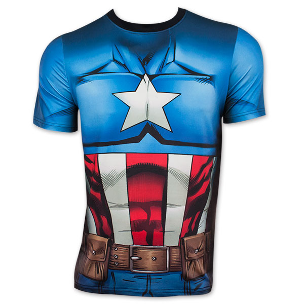 captain america men 39 s sublimated costume tee shirt. Black Bedroom Furniture Sets. Home Design Ideas