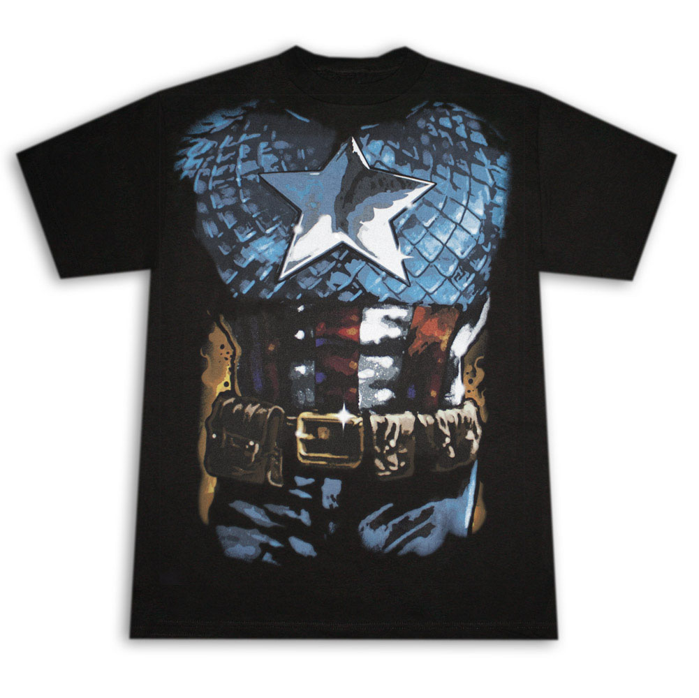 Captain America Suit Costume Halloween Black Graphic T Shirt