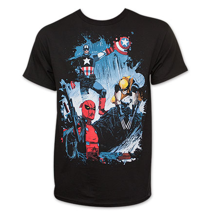 Marvel Men's Wolverine Captain America Deadpool Group T-Shirt