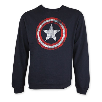 Captain America Men's Navy Blue Distressed Shield Crew Neck Sweatshirt
