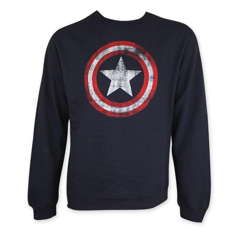 Captain America Men's Navy Blue Distressed Shield Crew Neck Sweatshirt