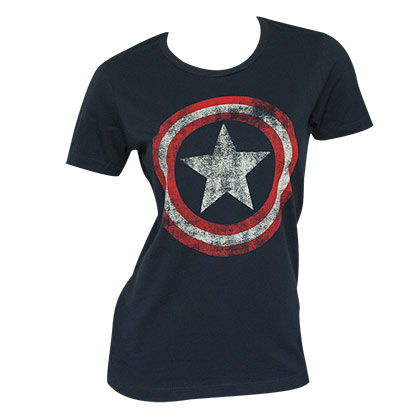 Captain America Distressed Shield Navy Blue Ladies Graphic T-Shirt