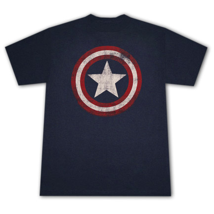 Captain America Distressed Shield Logo Navy Blue Graphic Tee Shirt