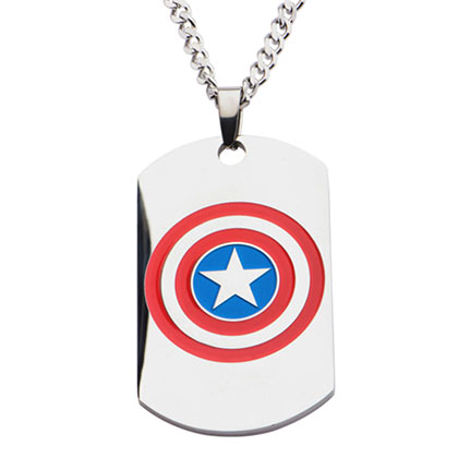 Captain America Dog Tag Pendant With Chain