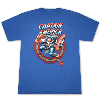 Captain America Fist Royal Blue Graphic Tee Shirt