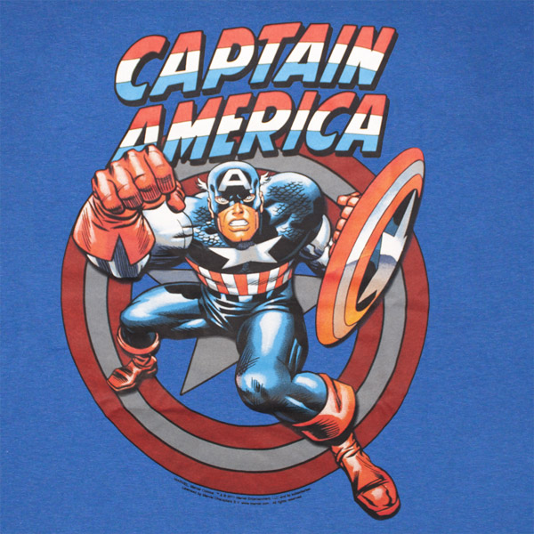 Captain America Fist Royal Blue Graphic Tee Shirt