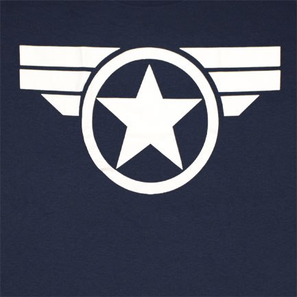 Captain America Good Ol Steve Logo Navy Blue Graphic T-Shirt