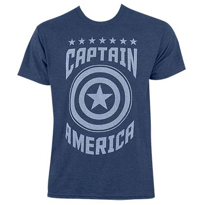 Captain America Men's Heather Blue Varsity T-Shirt