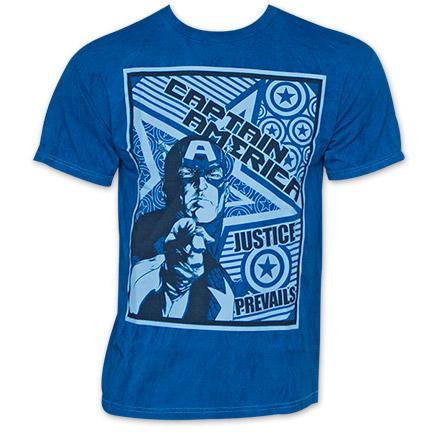 Captain America Justice Prevails Poster T Shirt - Blue