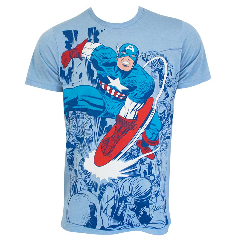 Captain America Men's Blue Smash Fighting T-Shirt