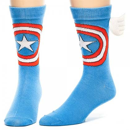 Captain America Logo Blue Crew Socks