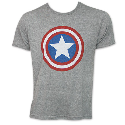 Captain America Shield Logo Tee Shirt - Heather Grey