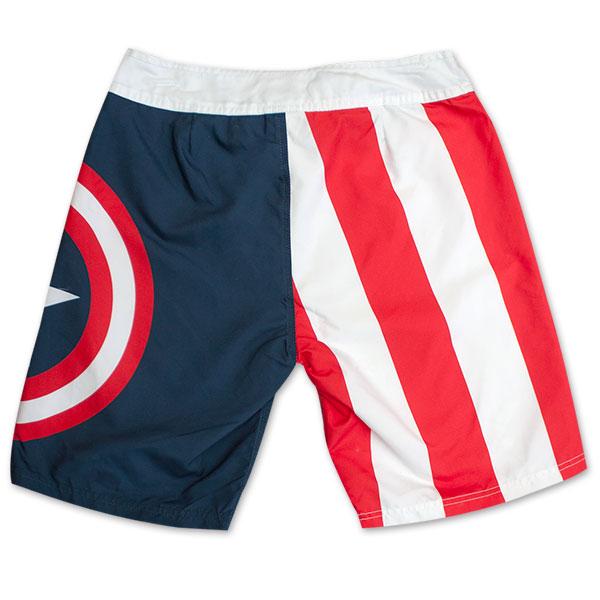 82e870617c0d3 Captain America Logo Stripes Board Shorts | SuperheroDen.com