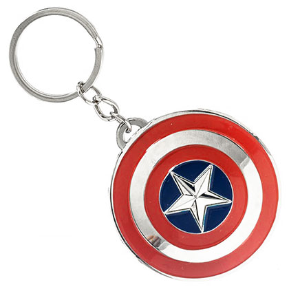 Captain America Metal Star Logo Keychain