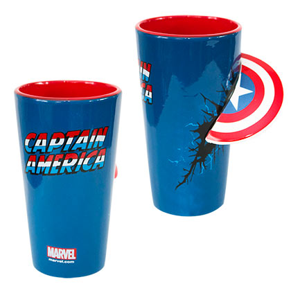 Captain America Blue 3D Shield Pint Glass